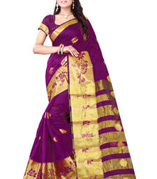 Buy magenta Printed silk saree with blouse silk-saree online