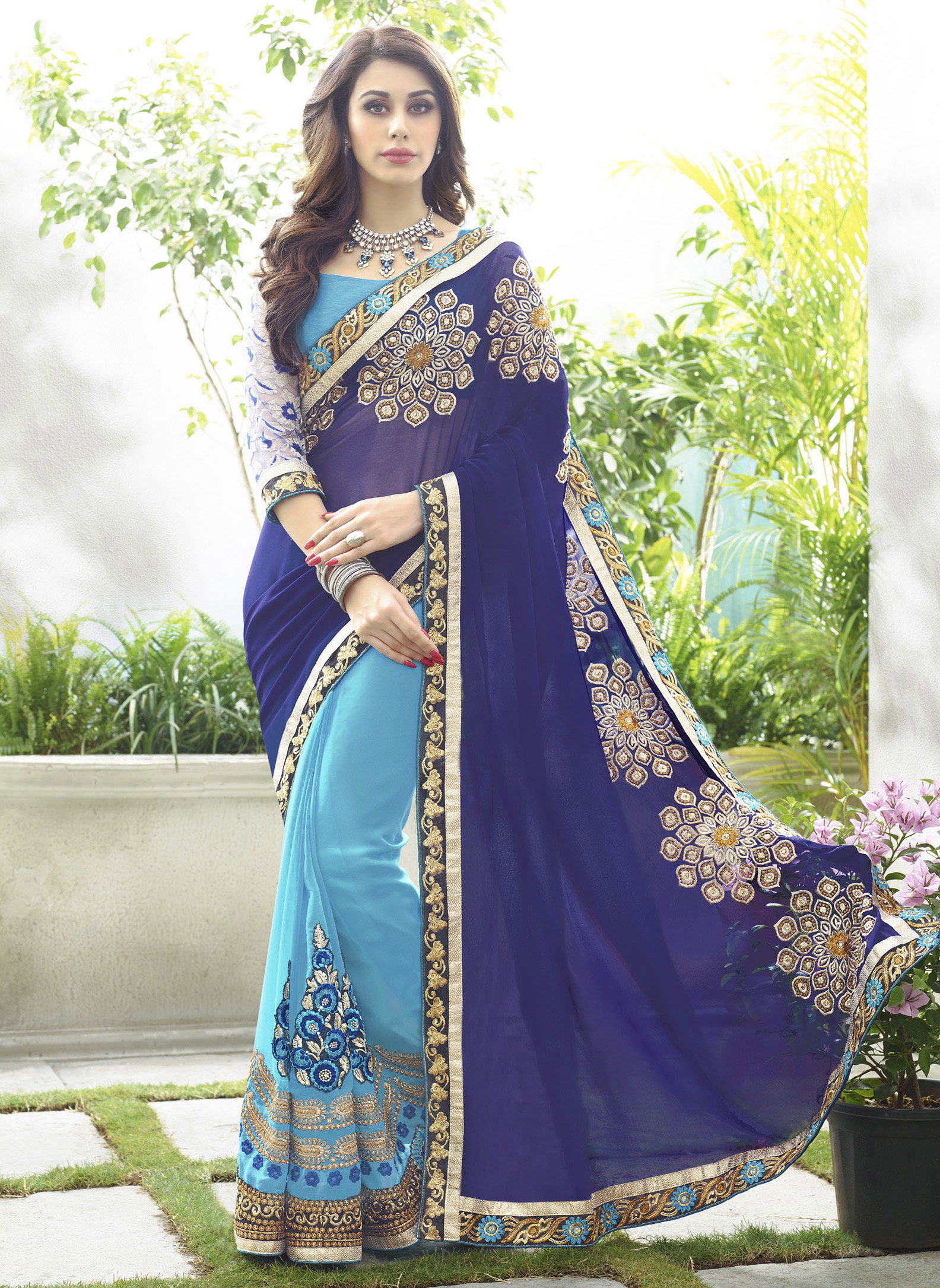 1627d0f2fe navy blue embroidered georgette saree With Blouse - Bansi Sarees - 1292491