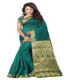 Buy rama green Printed tissue saree with blouse tissue-saree online
