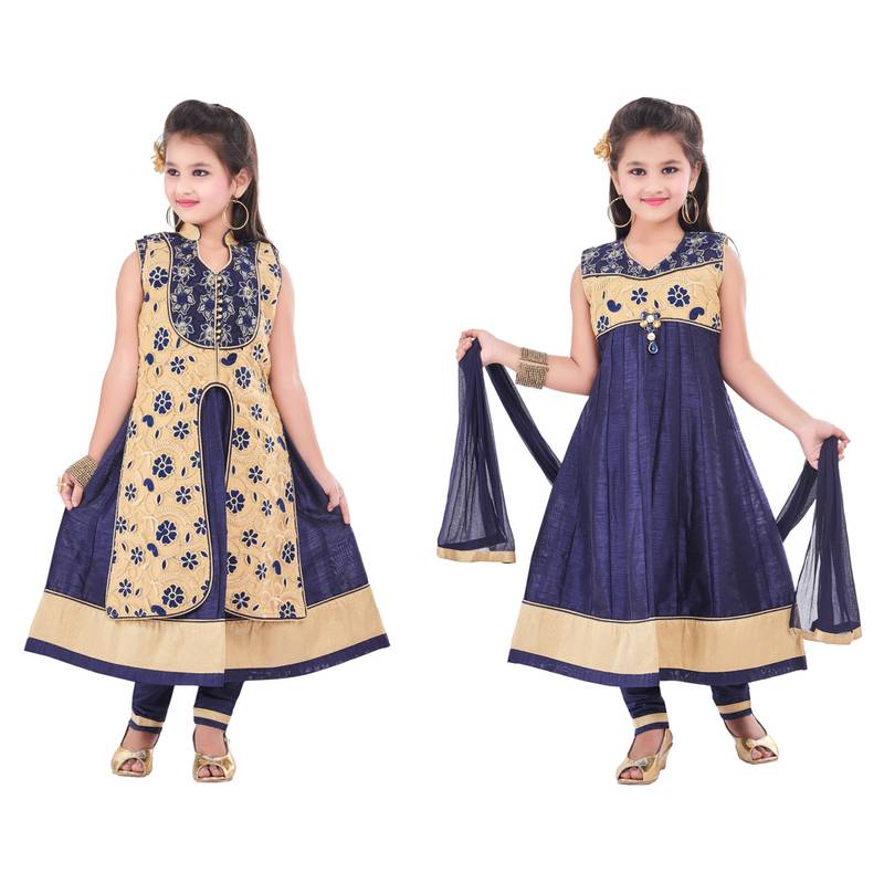 Buy navy embroidery and print dupion with netted fabric for Childrens dress fabric