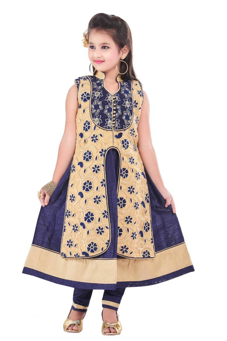 Buy navy embroidery and print dupion with netted fabric for Kids dress fabric