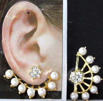 White Pearl Flower Stone Ear - Cuff Earring