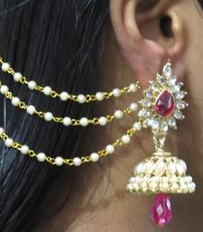 Dark Pink Drop Jhumka With Pearl Ear Chain Earring