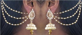 Yellow Drop Jhumka With Pearl Ear Chain Earring