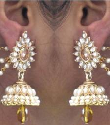Buy Yellow Drop Jhumka With Pearl Ear Chain Earring women-ethnic-wear online