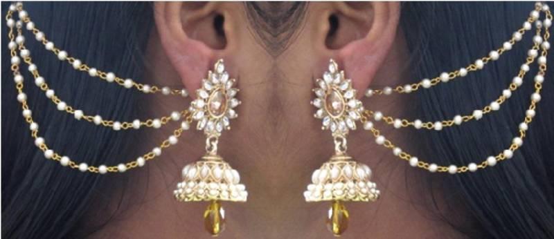 Yellow Drop Jhumka With Pearl Ear Chain Earring Shree Mauli