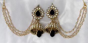 Black Drop Jhumka With Pearl Ear Chain Earring