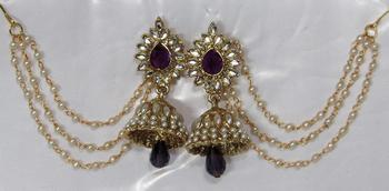 Purple Drop Jhumka with Pearl Ear Chain Earring