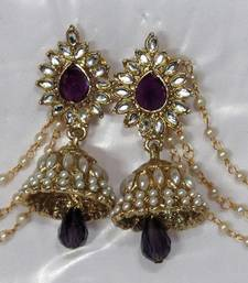 Buy Purple Drop Jhumka with Pearl Ear Chain Earring jhumka online