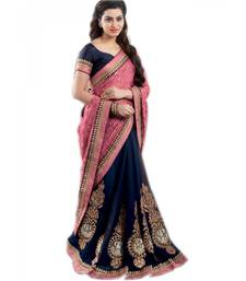 Buy Navy blue embroidered georgette saree with blouse half-saree online