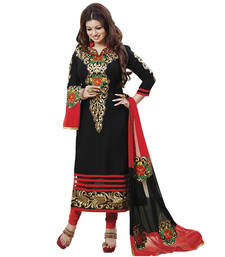 Buy black embroidered cotton unstitched salwar with dupatta multicolor-salwar-kameez online