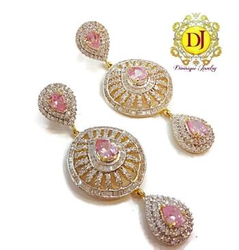 Pink Dream American Diamond chandelier earrings