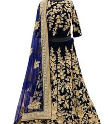 Buy Navy Blue velvet embroidered unstitched lehenga choli bridal-lehenga online