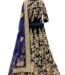Buy Navy blue embroidered velvet unstitched lehenga choli bridal-lehenga online