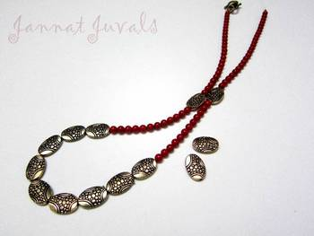 Red coral Golden necklace with earrings