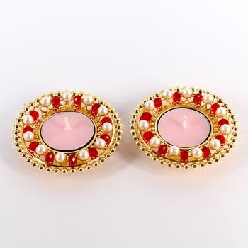 Pair of pearl with crystal diyas
