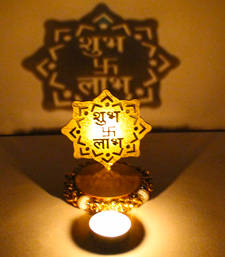 Buy Exclusive shadow diya tealight candle holder of removable shubh labh new-year-gift online