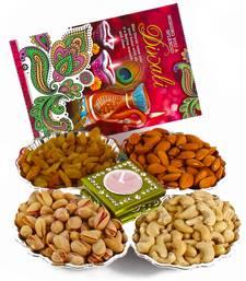 Buy Dryfruit hamper with diwali card and diya diwali-dry-fruit online