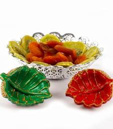 Buy Diwali earthen diya with designer bowl of dry kiwi and dry apricot diwali-dry-fruit online