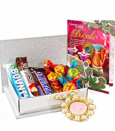 Buy Imported chocolates hamper with tealight diya diwali-gift online