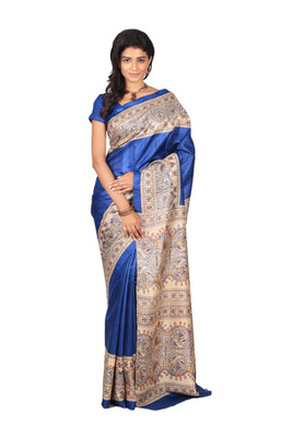 multicolor printed pure tussar silk saree with blouse