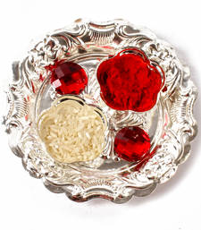 Buy Small round silver plated tikka container for bhai dhooj diwali-gift online