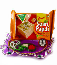 Buy Acrylic thali and silver coin with soan papdi for bhaidooj diwali-gift online