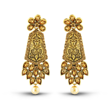 Exquitely Design Antique Gold Finish Pearl Drop Dangle Earrings
