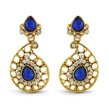 Blue Austrian Stone Gold Finish Classy Design Dangle Earrings