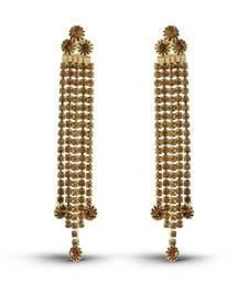 Dazzling Gold Finish Austrian Stone Long Cup Chain Earrings
