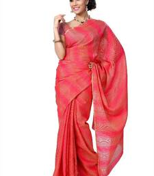 Buy Red and beige bhagalpuri silk saree with unstitched blouse (cnd1430) bhagalpuri-silk-saree online