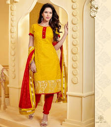 Buy Yellow and Red Banarasi Jacquard Unstitched Salwar Kameez dress-material online