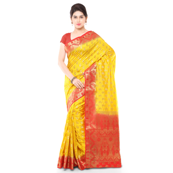 Gold woven art silk saree with blouse