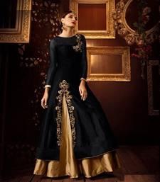Buy Golden embroidered art silk stitched lehenga pakistani-lehenga online