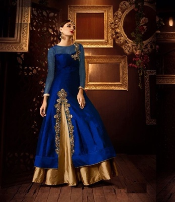 c7c41ba5d7 Golden embroidered art silk stitched lehenga - Taboody Empire - 1524136