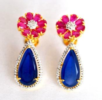 Floral Sapphire Ruby Earrings