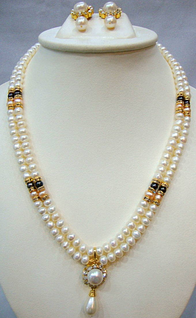 Buy Real Pearls Double String Pearls Set Online