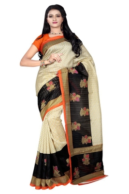 Beige printed bhagalpuri silk saree with blouse