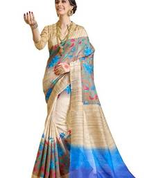 Buy Blue printed bhagalpuri silk saree with blouse hot-deal online