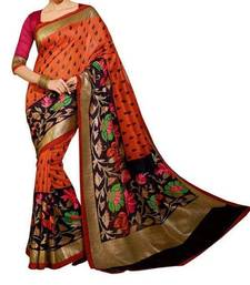 Buy Multicolor printed bhagalpuri silk saree with blouse hot-deal online