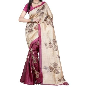 Magenta printed bhagalpuri silk saree with blouse