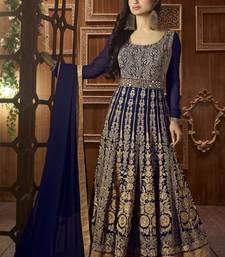 Buy Royal blue embroidered georgette salwar diwali-salwar-kameez online