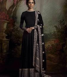 Buy black art silk embroidered semi stitched salwar with dupatta anarkali-salwar-kameez online
