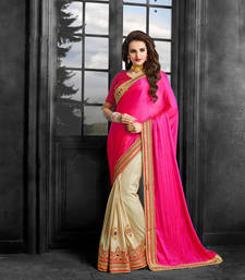 Buy Pink embroidered crepe saree with blouse crepe-saree online