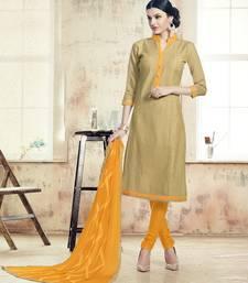 Buy Dark beige embroidered chanderi silk unstitched salwar with dupatta collar-neck-design online