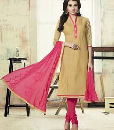 Buy Apricot embroidered chanderi silk unstitched salwar with dupatta collar-neck-design online