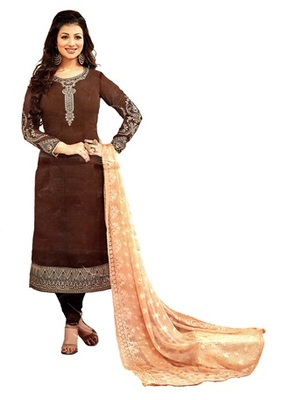 Brown Georgette Embroidery Unstitched Salwar With Dupatta