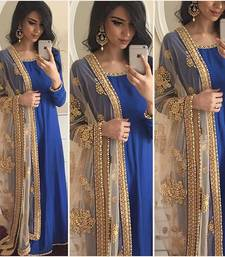 Buy Blue embroidered art silk semi atitched salwar with dupatta anarkali-salwar-kameez online