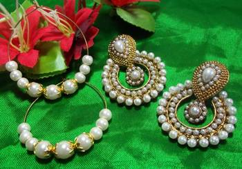 Buy 1 get 1 free white pearl polki earrings