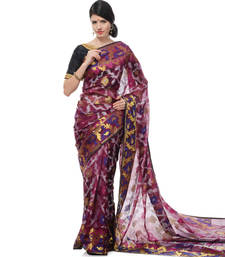 Buy Purple woven super net saree with blouse supernet-saree online